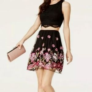 NWOT City Studio Floral Embroidered Tulle Skirt 15